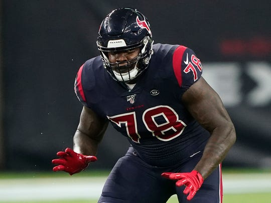 FILE - In this Nov. 21, 2019, file photo, Houston Texans offensive tackle Laremy Tunsil (78) is shown during the first half of an NFL football game against the Indianapolis Colts in Houston. The Houston Texans have signed left tackle Laremy Tunsil to a three-year, $66 million contract extension. (AP Photo/David J. Phillip, File)