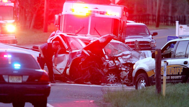 The scene of a head on collision at Ridgeway Boulevard and South Hope Chapel Road in Jackson Township Friday evening, April 28, 2017.