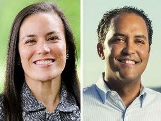 Gina Ortiz Jones and Will Hurd