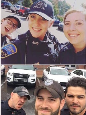 Grand Ledge police officers (l. to r.) Sara Devereaux, Jill Feuer and Arianna Ringold pose for a photo strikingly similar to the one of police officers in Florida that's gone viral.