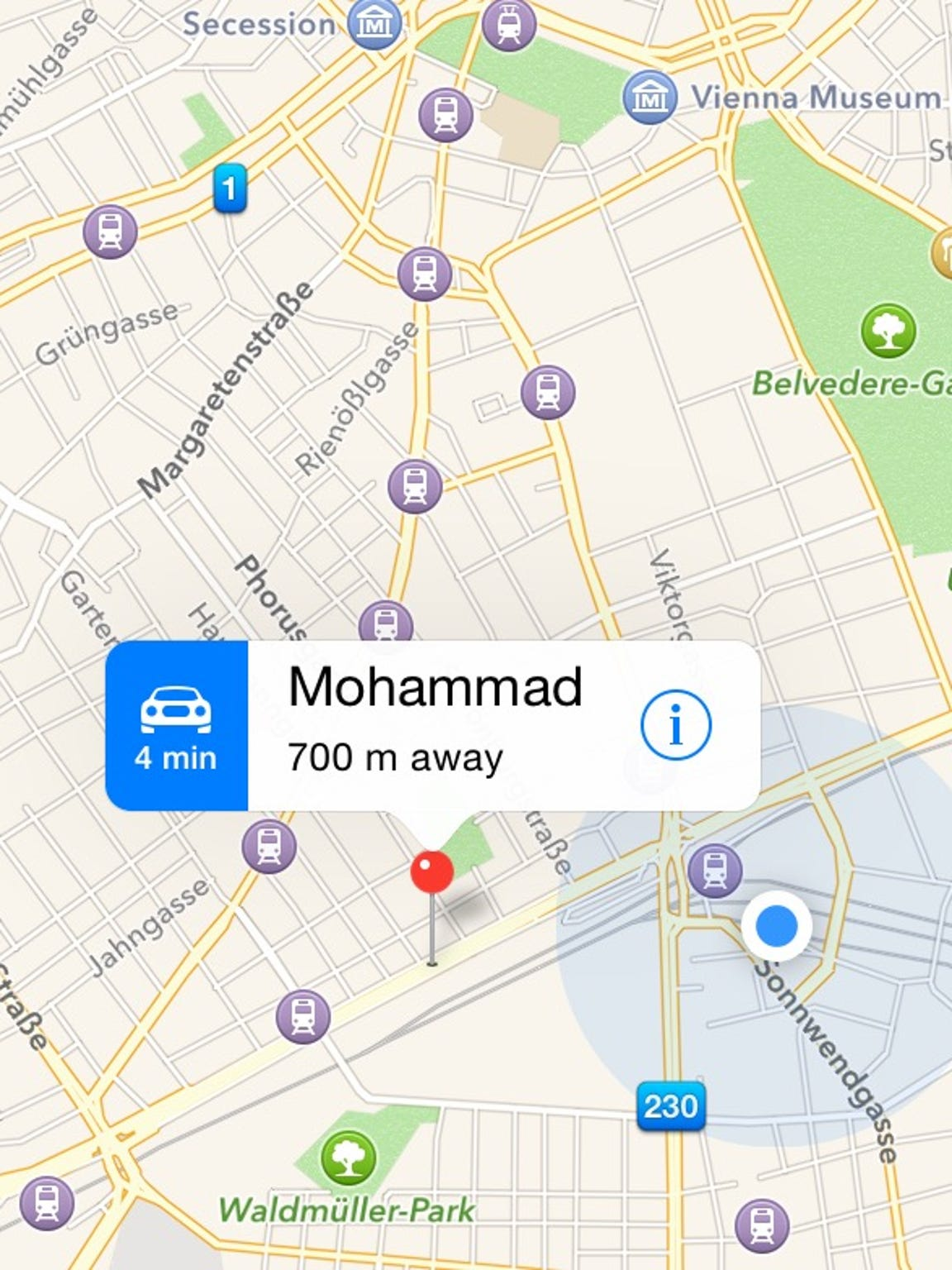 This image shows my distance from Mohammad Helani, 12, when I received a message from him saying he was in Austria on Sept. 25. He sent me a map on WhatsApp and I checked it against my location at Vienna's main train station (blue dot).