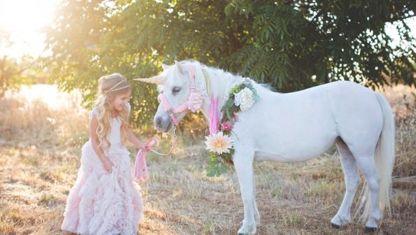 Juliet, doubles as a unicorn for photo shoots with her owner photographer Sandra Boos.