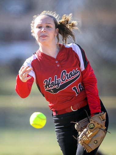 Ashley Meeks pitches for Holy Cross against Notre Dame