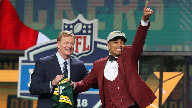 Apr 26, 2018; Arlington, TX, USA;  NFL commissioner Roger Goodell with Jaire Alexander as he is selected as the number eighteen overall pick to the Green Bay Packers in the first round of the 2018 NFL Draft at AT&T Stadium. Mandatory Credit: Matthew Emmons-USA TODAY Sports