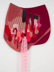 """Jessica Wohl, """"Red Drippy Droops,"""" mixed media, 2015."""