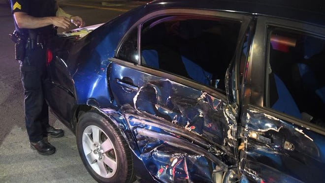 Taft Police Sgt. Ray Buford investigating hit-and-run crash Wednesday night.