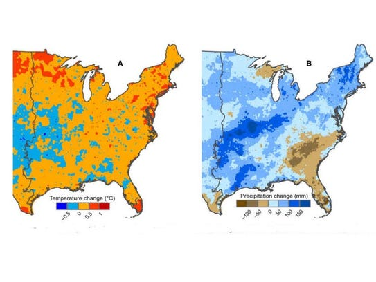 Left: Changes in temperature across the eastern U.S.