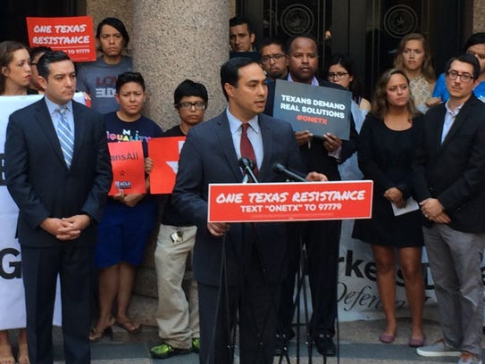 U.S. Rep. Joaquin Castro at a rally at the Texas Capitol