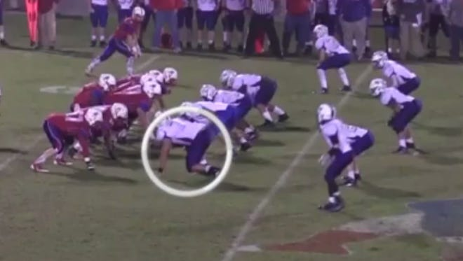 Offensive tackle Cole Kirby (circled) committed to MTSU on Wednesday. He was recruited by Mike Polly and Rick Mallory.