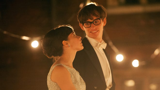 Felicity Jones as Jane Wilde and Eddie Redmayne as Stephen Hawking in a scene from 'The Theory of Everything.'