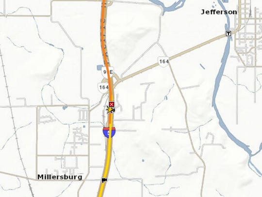 A crash closed southbound I-5 at the Jefferson exit Wednesday morning.