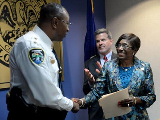 In this Times file photo, Shreveport Mayor Ollie Tyler shakes hands with Alan Crump, who she named to be the city's next police chief.