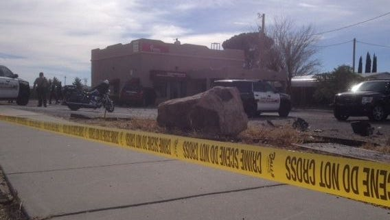 The 63-year-old woman was driving south on Motel Boulevard when she crashed into Richie's Upholstery.
