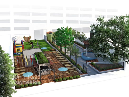 A rendering of The Wurst Biergarten next to Parc Lafayette.