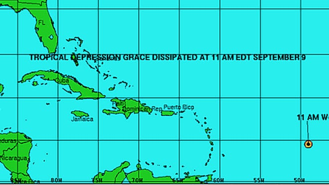 A graphic from the National Hurricane Center shows the location of the remnants of Tropical Depression Grace on Wednesday.