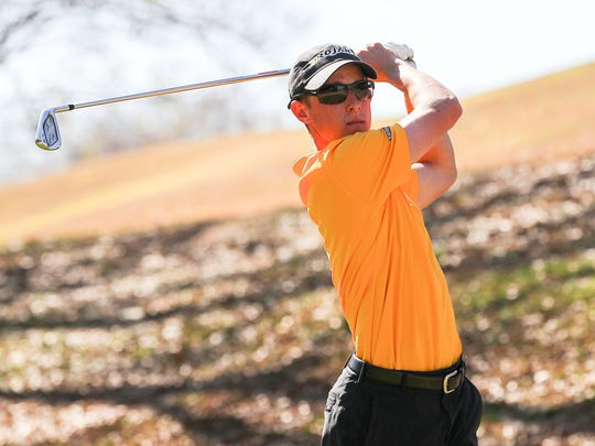 Jake Miller, one of the top men's golfers at Anderson University, practices recently at Cobbs Glen Country Club in Anderson.