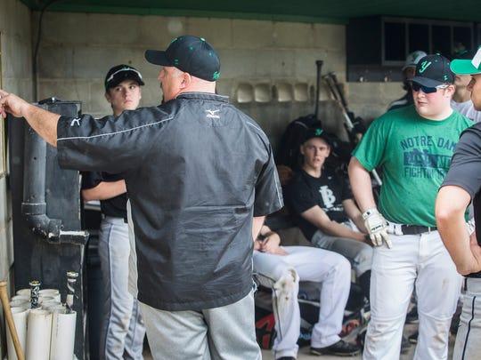 Yorktown baseball coach PJ Fauquher organizes a practice