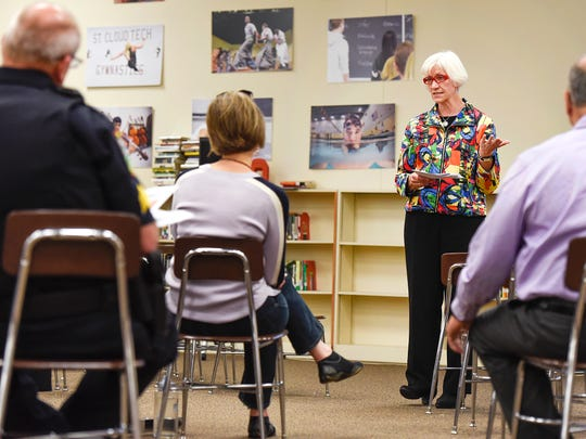 Carol Martinson of Intentional Security Design, Inc., Minneapolis, talks about security and what to keep in mind Thursday, May 18, while designing the new Technical High School.
