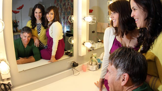 Composer Stephen Schwartz and the current stars of WICKED: Lindsay Mendez, mirror center, and Alli Mauzey celebrate the show's 10th anniversary on Broadway.