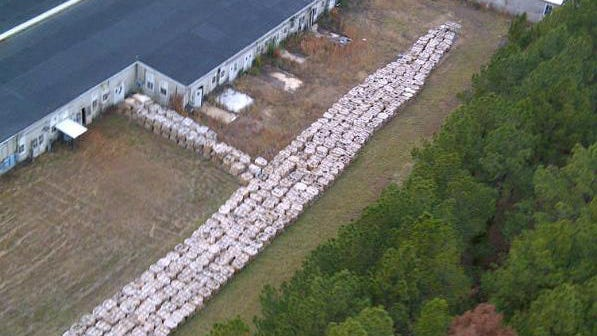 This aerial photo shows some of the millions of pounds of smokeless explosive powder found improperly stored in November 2012 at Explo Systems Inc., a munitions dismantling facility at Camp Minden at Doyline.