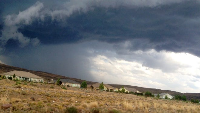 Photo from 2014: Reader Loma Kocienski sent this photo of storm clouds looming over Spanish Springs.