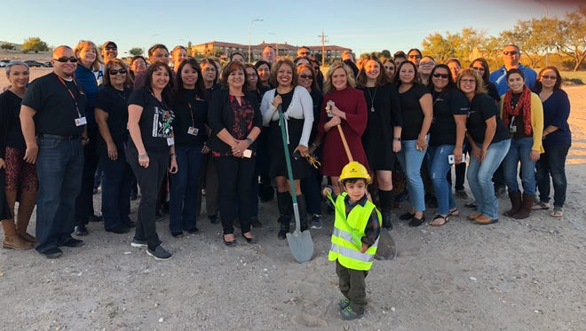 Children, Youth and Families Department Secretary Monique Jacobson poses with CYFD staff at the groundbreaking of the new Las Cruces office on Nov. 16, 2017.