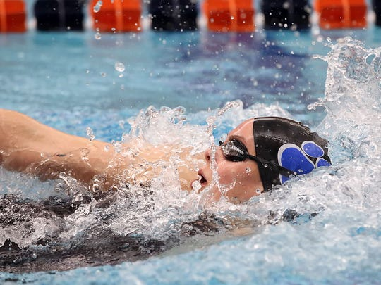 Dallastown's Kacey Oberlander, swims the backstroke leg of the 200 yard IM, during the PIAA 3A Swimming and Diving Championships at Kinney Natatorium on the campus of Bucknell University Wednesday March 16, 2016. Chris Knight - GametimePa.com