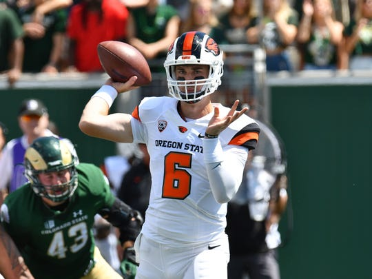 Oregon State quarterback Jake Luton started the first four games in 2017 before suffering a season-ending back injury.