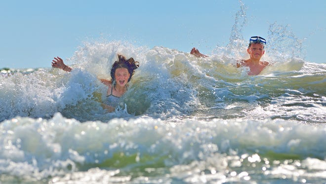 getty images ?From an early age kids should be taught if they get caught in a rip current, they should signal to a lifeguard, don?t panic, tread water, and eventually the current will dissipate,? Gene Hession said. kids playing in water against the waves