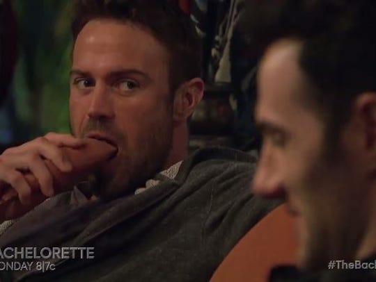 Chad eating a yam.