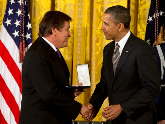 Billy Mills was presented the 2012 Citizens Medal by former president Barack Obama during a ceremony at the White House.