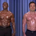 """The two performed the classic """"Ebony and Ivory"""" without shirts and greased up on """"The Tonight Show."""""""