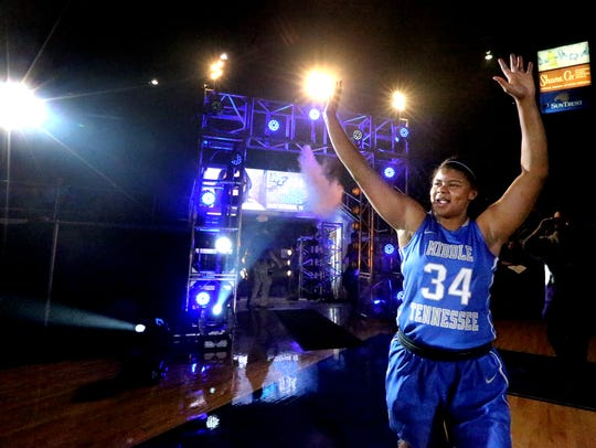 MTSU's Olivia Jones takes to the court during this