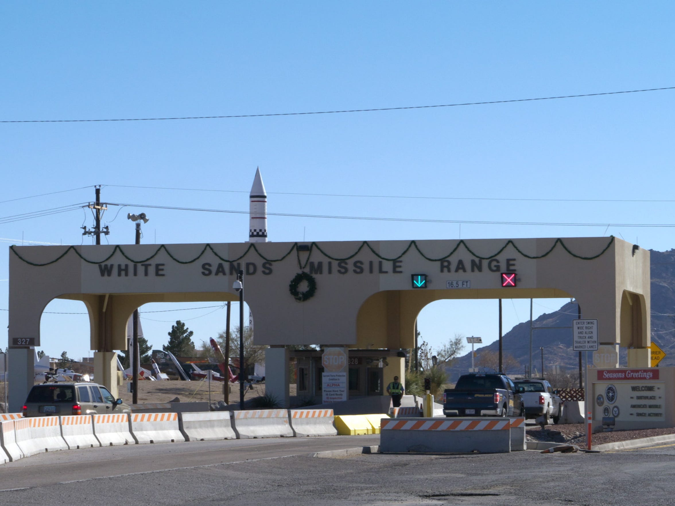 Main gate at White Sands Missile Range, where Frances Williams worked from 1952 until 1987.