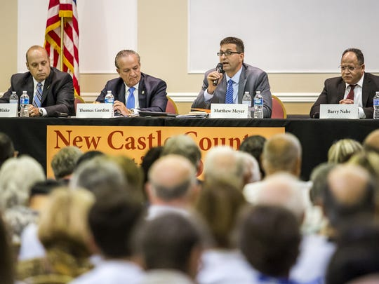 New Castle County executive candidates (from left) Mark Blake, Thomas P. Gordon, Matt Meyer and Barry Nahe take part in a debate in Hockessin on Aug. 2. Fundraising totals were released Tuesday.