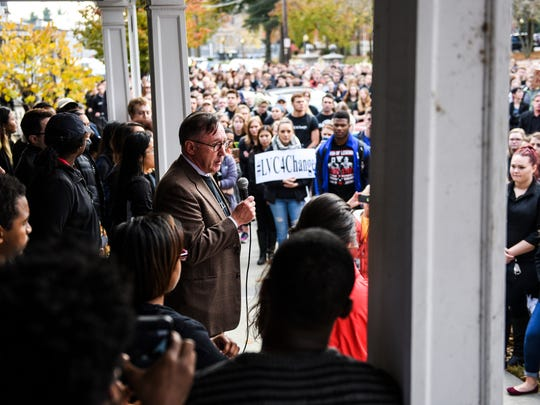 Dr. Lewis Thayne, president of Lebanon Valley College, addresses hundreds of students, faculty and staff at Lebanon Valley College participated in a march to demonstrate against hate on Wednesday, Nov. 16, 2016. Earlier in the week, a racist message was written on the Women's Services and Gender Resources Center.
