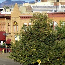 """A view of the historic """"Old Town"""" section of Fort Collins, Colorado."""