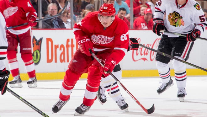 Detroit forward Tomas Nosek now has 11 NHL games under his belt over the past two seasons.