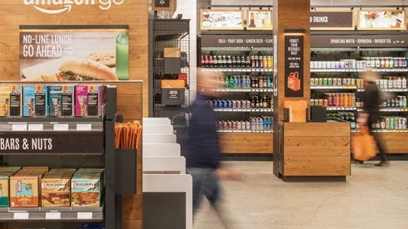 Some products displayed inside the Amazon Go store.