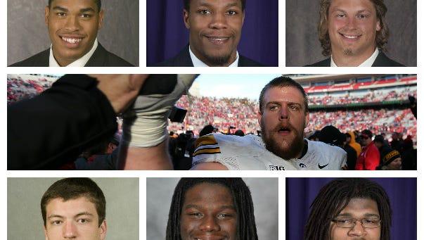 Seven Iowa collegians are in Sports Illustrated's Top 300 NFL Draft prospects list released this week. Top row from left: Carl Davis, Iowa; David Johnson, Northern Iowa; Andrew Donnal, Iowa. Center row: Brandon Scherff, Iowa. Bottom row from left: Louis Trinca-Pasat, Iowa; E.J. Bibbs, Iowa State; Xavier Williams, Northern Iowa.