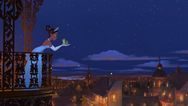 """Tiana  and her  """"prince"""" in """"The Princess and the Frog."""""""