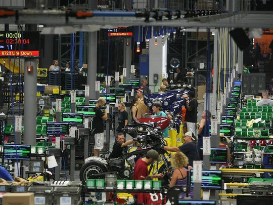 The Indian Motorcycle production line in Spirit Lake.