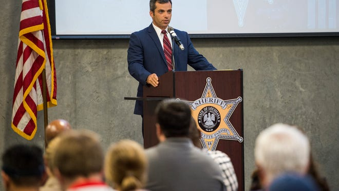 Lafayette Parish Sheriff candidate Mark Garber speaks during a forum at the Lafayette Parish Sheriff's Office Public Safety Complex in Lafayette, LA, Thursday, Aug. 27, 2015.