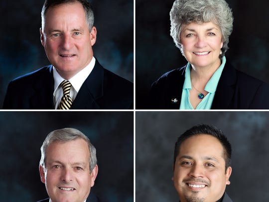Clockwise from top left: Tim Flynn, Carmen Ramirez, Bert Perello and Oscar Madrigal. The four will face a recall election this spring.