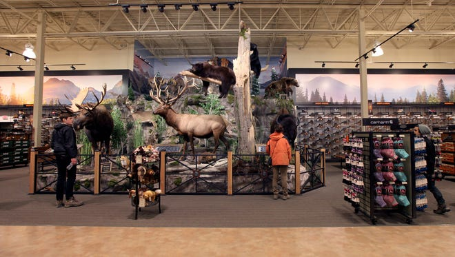 Shoppers check out the wild taxidermied animal display at the back of the newly opened Field & Stream store at the Oakland Mall in Troy.