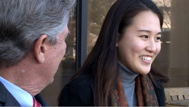 Rutgers University Newark sophomore Esder Chong smiles during an interview with U.S. Rep. Frank Pallone (D-NJ) in Edison on Jan. 26. She is a DACA recipient from Highland Park and Pallone invited her to attend the State of the Union speech as his guest.