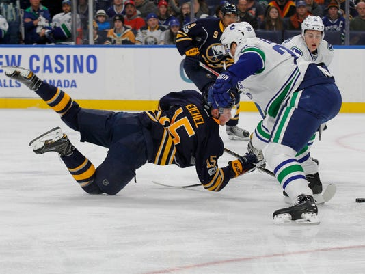 Buffalo Sabres forward Jack Eichel (15) looses the puck to Vancouver Canucks defensenman Alexander Edler (23) during the first period of an NHL hockey game, Sunday, Feb. 12, 2017, in Buffalo, N.Y. (AP Photo/Jeffrey T. Barnes)