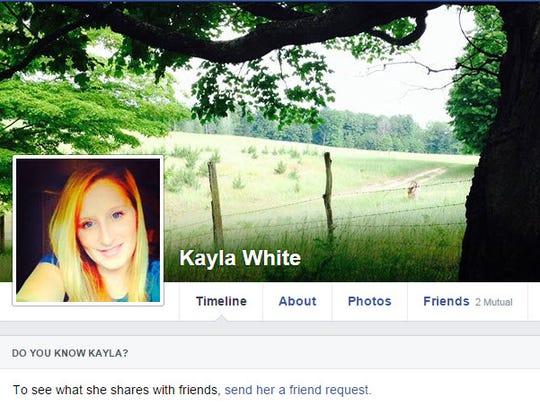 Kayla White's Facebook profile