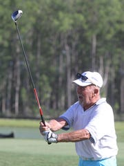 Alfred Spungin, 92, tees off during a round of golf. Alfred Spungin, 92, and Bob Nelson, 91, are seasoned golfers who have a lot of wisdom to share about the game and life in general. They are two of the oldest golfers at Pelican Preserve and aren't slowing down anytime soon. June, 17, 2015.