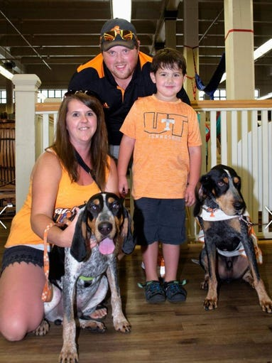 Ashley, Jon and Eli Lynch and their dog Blue visited with Smokey X.